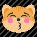 cat, cheerful, cute, emoji, face, kiss, lips