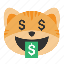 cat, dollars, emoji, face, financial, money, mouth