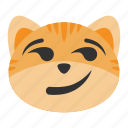 cat, emoji, expression, face, happy, smile, smirk