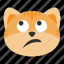 cat, emoji, emotion, expression, eyes, face, rolling