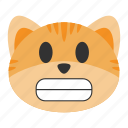 cat, cheerful, emoji, emotion, expression, face, grimace