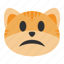 cat, confused, expression, emoji, serious, sad, frowning icon