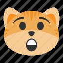 astonished, cat, emoji, excited, expression, joy, surprise