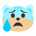 anxiety, anxious, cat, emoji, nervous, perspiration, sweat