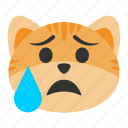 cat, emoji, emotion, expression, relieved, sad, unhappy