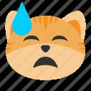 cat, downcast, emoji, expression, shock, smile, sweat