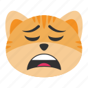 bored, cat, emoji, exhausted, fatigue, tired, weary