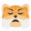 aggressive, angry, cat, emoji, expression, nose, steam