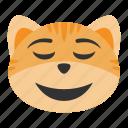 cat, emoji, emotion, face, happy, relieved, smile