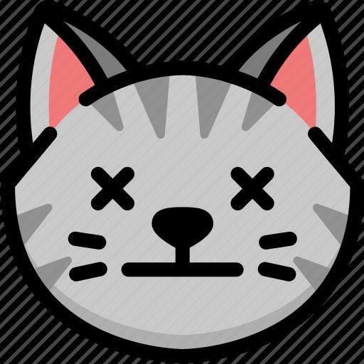 cat, dead, emoji, emotion, expression, face, feeling icon