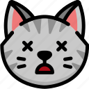 cat, dead, emoji, emotion, expression, face, feeling icon