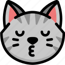 cat, emoji, emotion, expression, face, feeling, kiss icon
