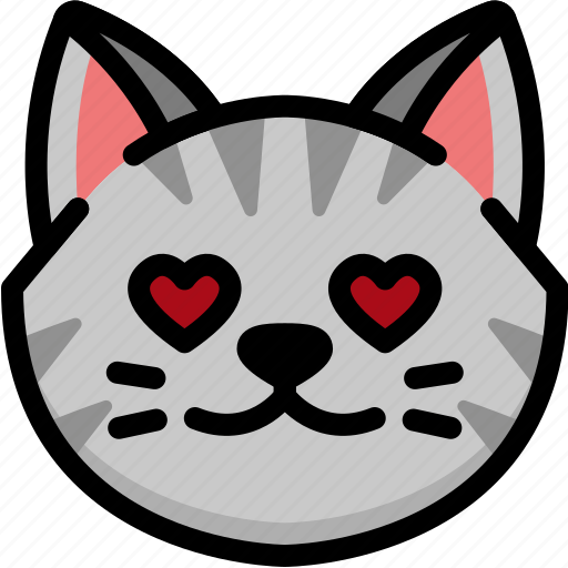 cat, emoji, emotion, expression, face, feeling, love icon