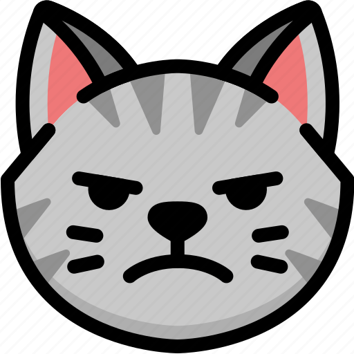 cat, emoji, emotion, expression, face, feeling, mad icon