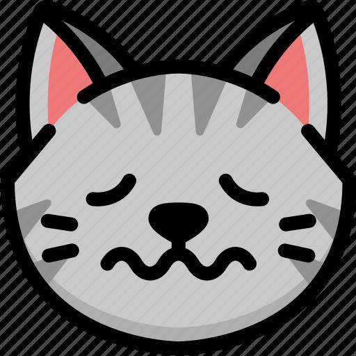cat, emoji, emotion, expression, face, feeling, nervous icon