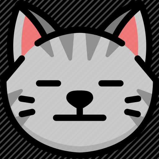 cat, emoji, emotion, expression, face, feeling, neutral icon