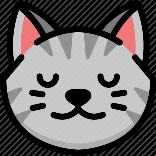 cat, emoji, emotion, expression, face, feeling, peace icon