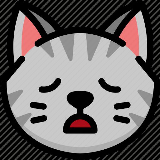cat, emoji, emotion, expression, face, feeling, tried icon