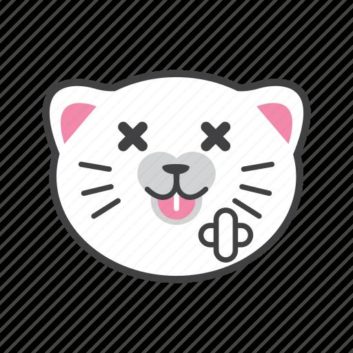 broke, cat, face, sick icon