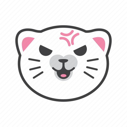 angry, cat, face, fight icon