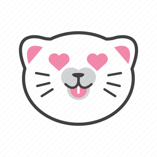 cat, face, like, love icon