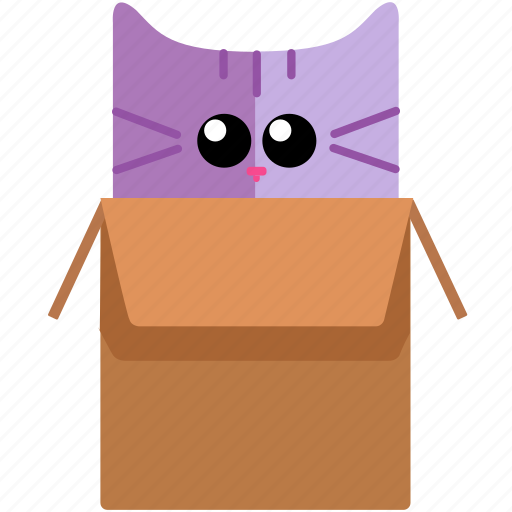 box, cat, cute, face, joke icon