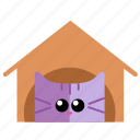 alone, cat, cute, face, home, house icon
