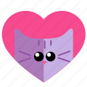 cat, face, heart, love, lover icon