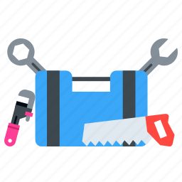 driver, equipment, kit, saw, screw, tool, wrench icon