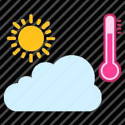 analysis, rainy, season, sun, temperature, weather icon