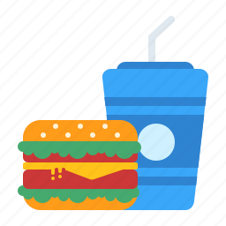 burger, coffee, cold, cup, drinks, fast, food icon
