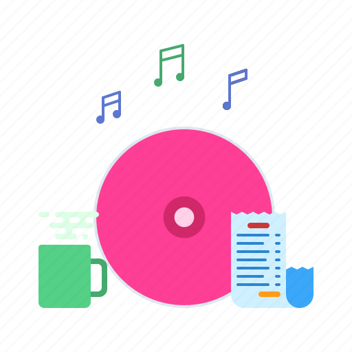 business, coffee, disc, music, office, report, stuff icon