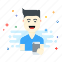 avatar, boy, device, fun, happy, smile icon