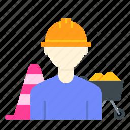 bloacker, construction, engineer, road, trolley, wheel, worker icon