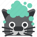 animal, bath, bathing, cat, foam, pet, pussy icon