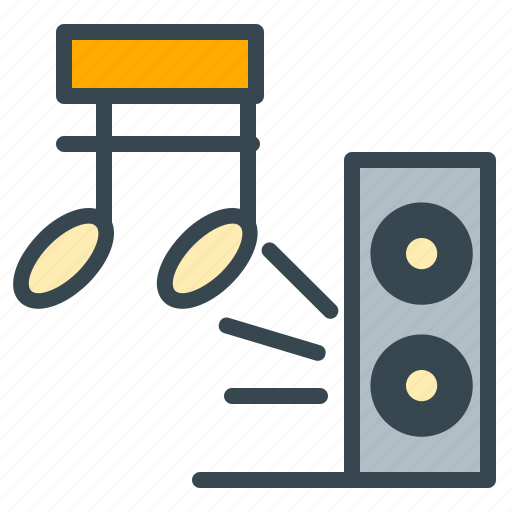 audio, celebration, music, note, sound, speaker icon