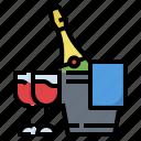 bucket, celebaration, champagne, ice, wine
