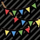 birthday, celebaration, decoration, flag, garlands