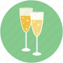alcohol glass, champagne glasses, drink, flute glass, glass icon