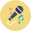 mic, microphone, music notes, singing, speak icon