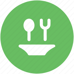cutlery, dining, flatware, fork, plate, restaurant, spoon icon
