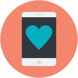 cell phone, heart, mobile, mobile love, smartphone icon