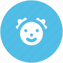 baby face, girl face, infant, jester face, joker avatar, joker face icon