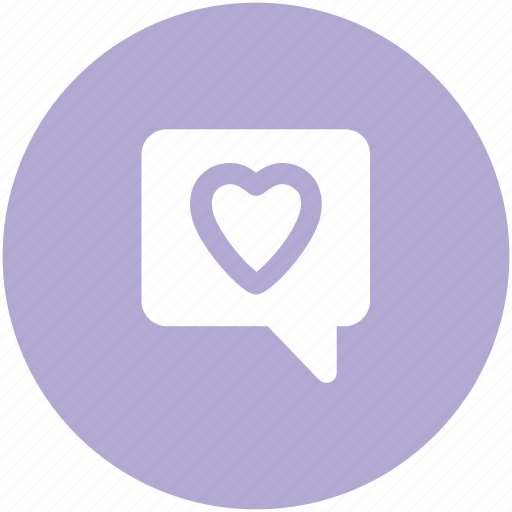 compassion, heart sign, love chat, romantic conversation, speech bubble icon