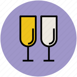 alcohol, beverage, champagne glasses, drink, flute glasses, wine icon