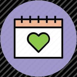 calendar, heart calendar, love day, valentine day, wall calendar icon