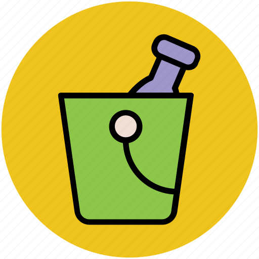 bucket, champagne bucket, drink, wine bottle, wine bucket icon