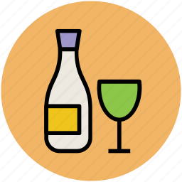 alcohol, alcoholic drink, bottle, glass, wine, wine bottle icon