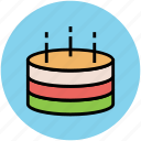 birthday cake, cake, cake with candle, dessert, party, sweet icon