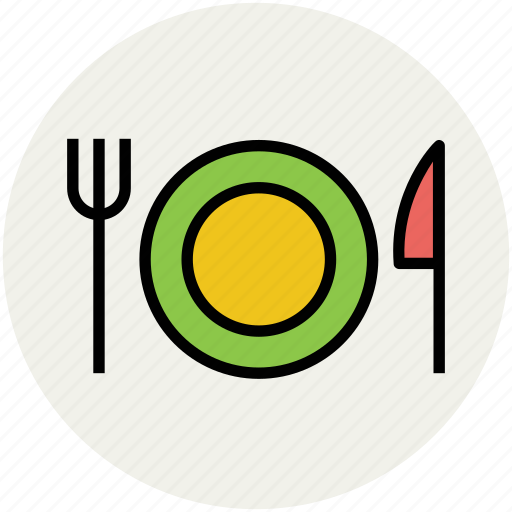 dining, eating, fork, knife, plate, restaurant, tableware icon